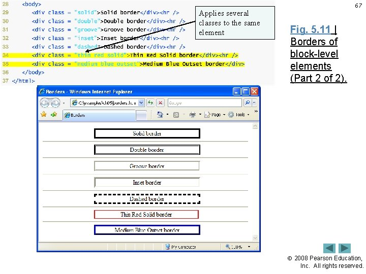 Applies several classes to the same element 67 Fig. 5. 11   Borders of