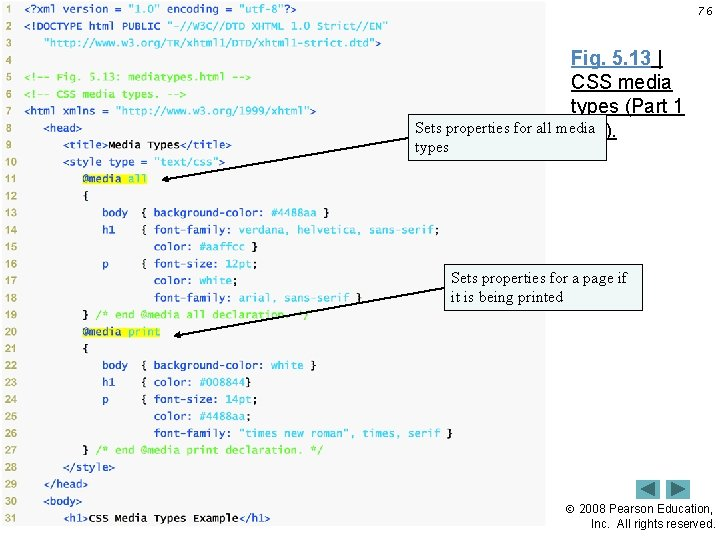 76 Fig. 5. 13   CSS media types (Part 1 Sets properties for all