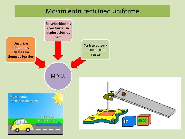 Movimiento rectilíneo uniforme Su velocidad es constante, su aceleración es cero Describe distancias iguales