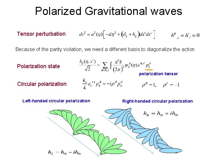 Polarized Gravitational waves Tensor perturbation Because of the parity violation, we need a different
