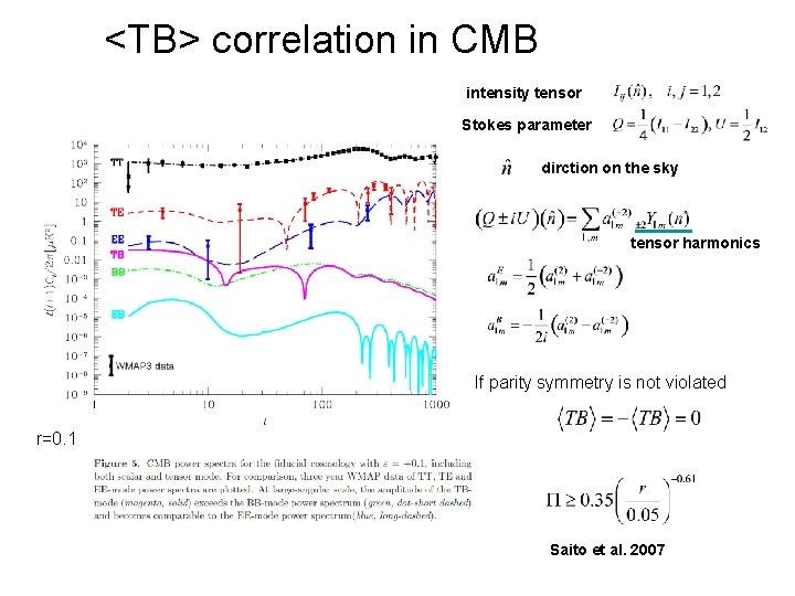 <TB> correlation in CMB intensity tensor Stokes parameter dirction on the sky tensor harmonics