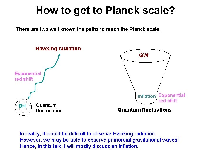 How to get to Planck scale? There are two well known the paths to