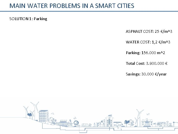 MAIN WATER PROBLEMS IN A SMART CITIES SOLUTION 1: Parking ASPHALT COST: 25 €/m^3