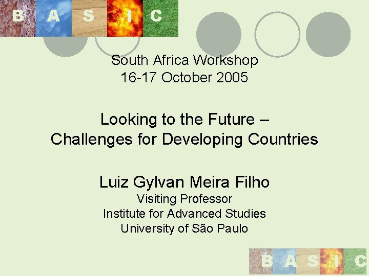 B A S I C South Africa Workshop 16 -17 October 2005 Looking to
