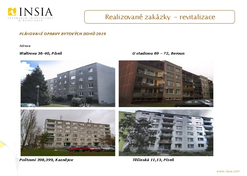 Realizované zakázky - revitalizace PLÁNOVANÉ OPRAVY BYTOVÝCH DOMŮ 2019 Adresa Waltrova 36 -40, Plzeň