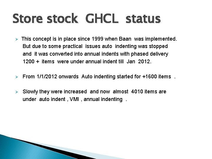 Store stock GHCL status Ø This concept is in place since 1999 when Baan