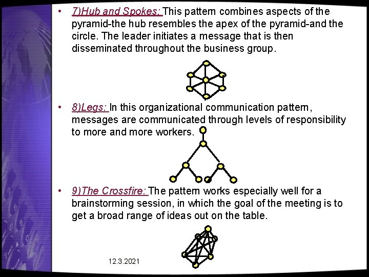• 7)Hub and Spokes: This pattern combines aspects of the pyramid-the hub resembles