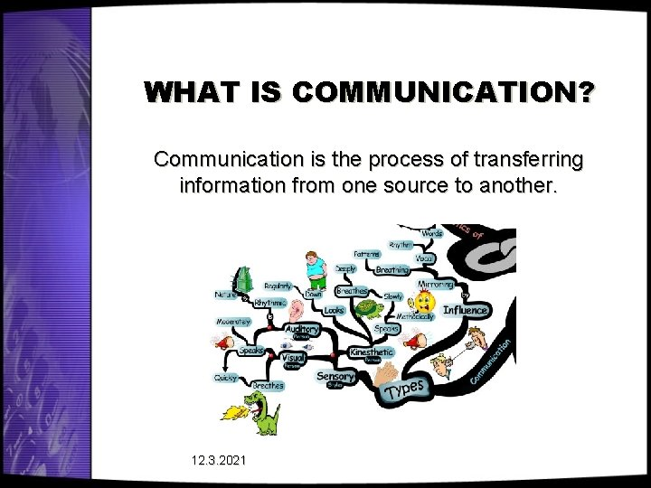 WHAT IS COMMUNICATION? Communication is the process of transferring information from one source to