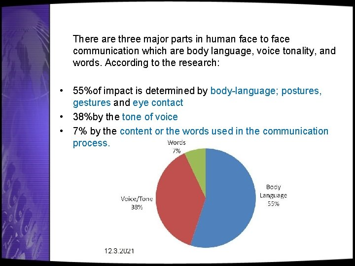There are three major parts in human face to face communication which are body