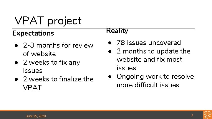 VPAT project Expectations ● 2 -3 months for review of website ● 2 weeks