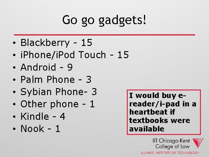 Go go gadgets! • • Blackberry - 15 i. Phone/i. Pod Touch - 15