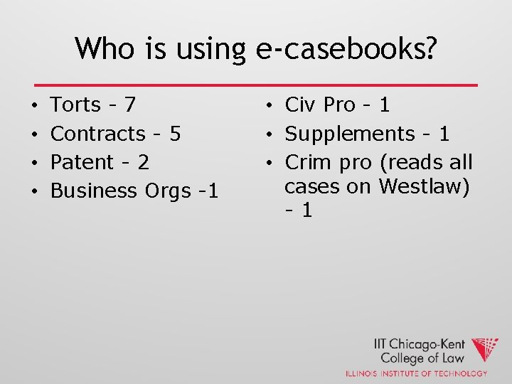 Who is using e-casebooks? • • Torts - 7 Contracts - 5 Patent -