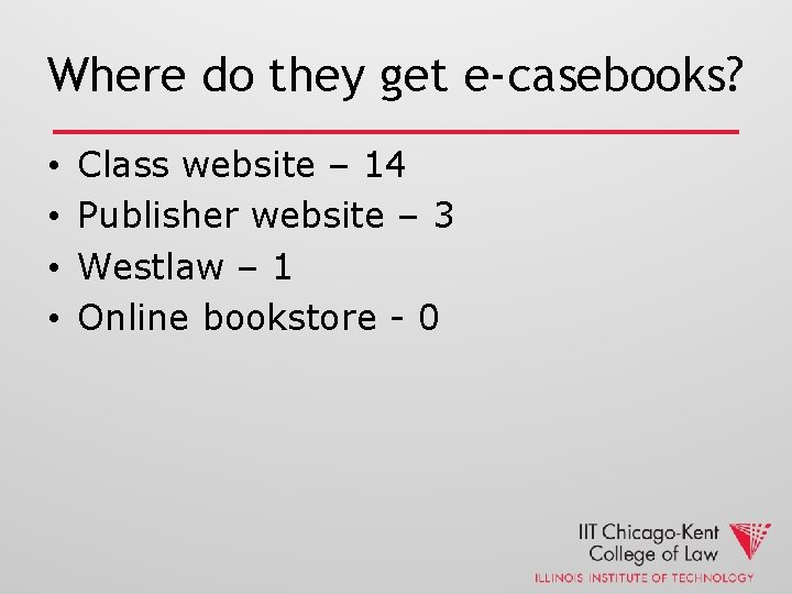 Where do they get e-casebooks? • • Class website – 14 Publisher website –