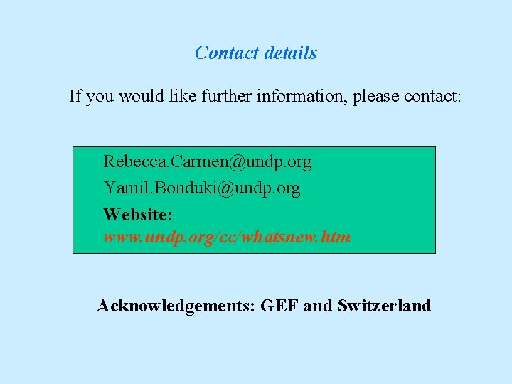 Contact details If you would like further information, please contact: Rebecca. Carmen@undp. org Yamil.