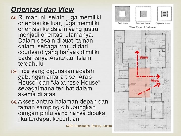 Orientasi dan View Rumah ini, selain juga memiliki orientasi ke luar, juga memiliki orientasi