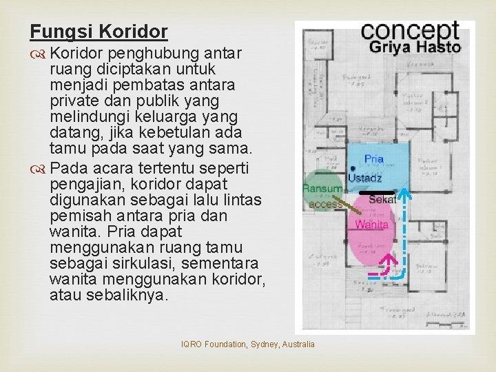 Fungsi Koridor penghubung antar ruang diciptakan untuk menjadi pembatas antara private dan publik yang