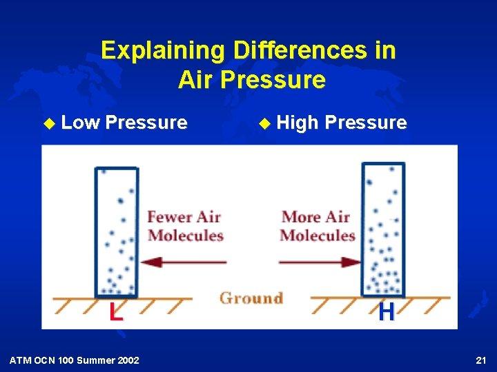 Explaining Differences in Air Pressure u Low Pressure L ATM OCN 100 Summer 2002