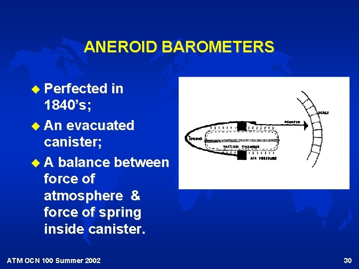 ANEROID BAROMETERS u Perfected in 1840's; u An evacuated canister; u A balance between