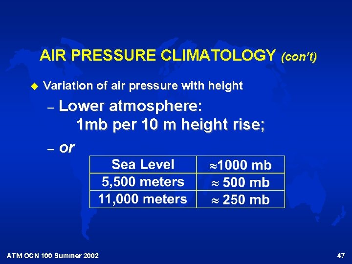 AIR PRESSURE CLIMATOLOGY (con't) u Variation of air pressure with height Lower atmosphere: 1