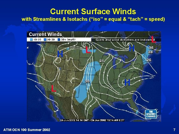 """Current Surface Winds with Streamlines & Isotachs (""""iso"""" = equal & """"tach"""" = speed)"""