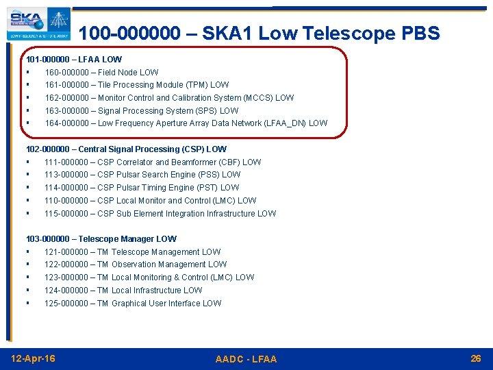 100 -000000 – SKA 1 Low Telescope PBS 101 -000000 – LFAA LOW §