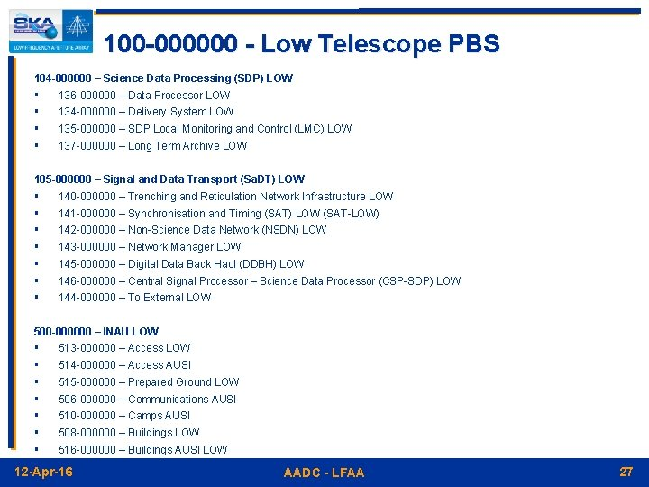 100 -000000 - Low Telescope PBS 104 -000000 – Science Data Processing (SDP) LOW