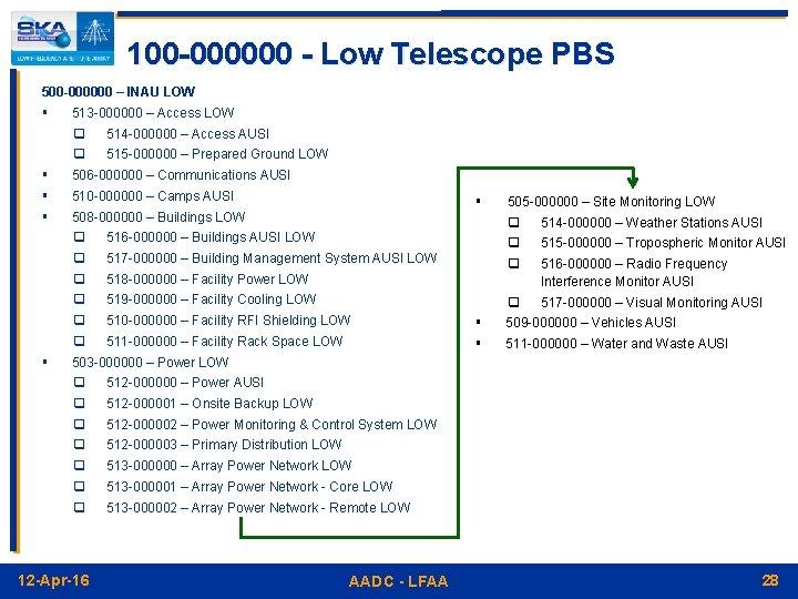 100 -000000 - Low Telescope PBS 500 -000000 – INAU LOW § § §