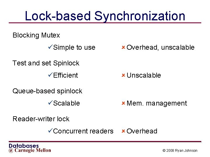 Lock-based Synchronization Blocking Mutex üSimple to use û Overhead, unscalable Test and set Spinlock