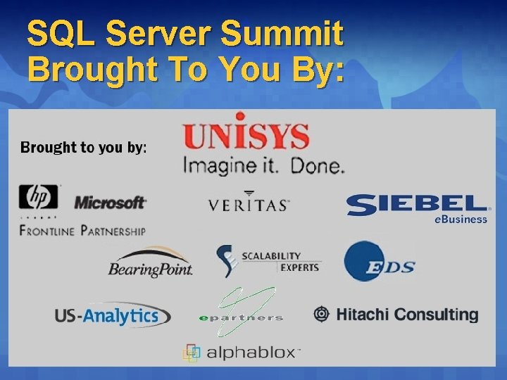 SQL Server Summit Brought To You By: