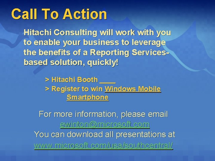 Call To Action Hitachi Consulting will work with you to enable your business to