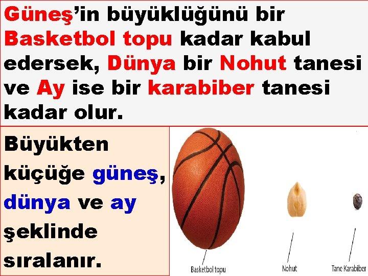 Güneş'in büyüklüğünü bir Basketbol topu kadar kabul edersek, Dünya bir Nohut tanesi ve Ay