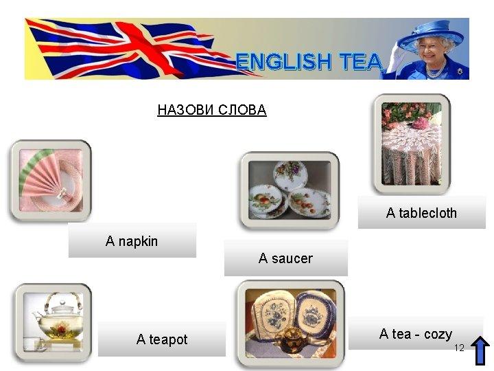 ENGLISH TEA НАЗОВИ СЛОВА A tablecloth A napkin A saucer A teapot A tea