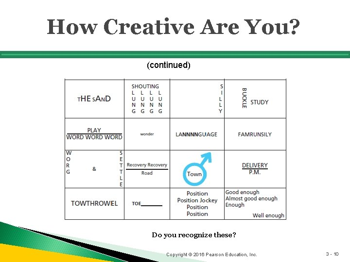 How Creative Are You? (continued) Do you recognize these? Copyright © 2016 Pearson Education,