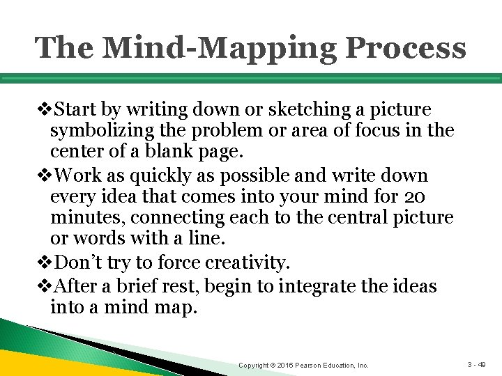 The Mind-Mapping Process v. Start by writing down or sketching a picture symbolizing the