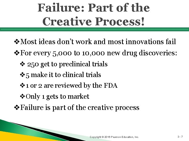 Failure: Part of the Creative Process! v. Most ideas don't work and most innovations