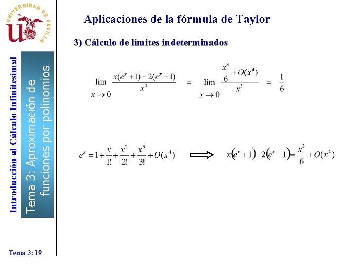 Tema 3: Aproximación de funciones por polinomios Introducción al Cálculo Infinitesimal Aplicaciones de la
