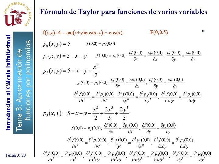 f(x, y)=4 - sen(x+y)cos(x-y) + cos(x) Tema 3: Aproximación de funciones por polinomios Introducción