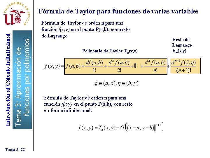 Fórmula de Taylor de orden n para una función f(x, y) en el punto