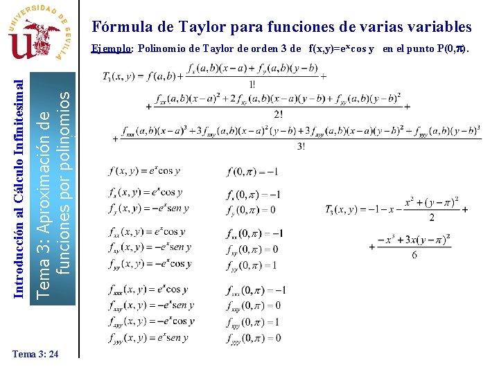 Fórmula de Taylor para funciones de varias variables Tema 3: Aproximación de funciones por