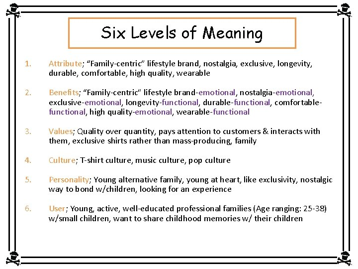 """Six Levels of Meaning 1. Attribute; """"Family-centric"""" lifestyle brand, nostalgia, exclusive, longevity, durable, comfortable,"""