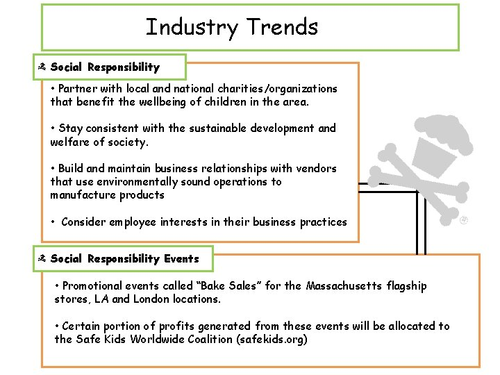 Industry Trends Social Responsibility • Partner with local and national charities/organizations that benefit the