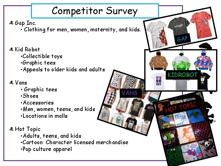 Competitor Survey Gap Inc. • Clothing for men, women, maternity, and kids. GAP Kid