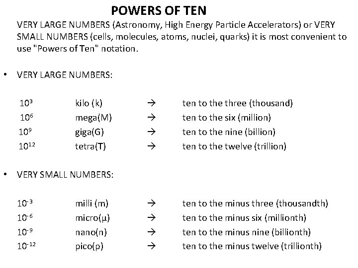 POWERS OF TEN VERY LARGE NUMBERS (Astronomy, High Energy Particle Accelerators) or VERY SMALL
