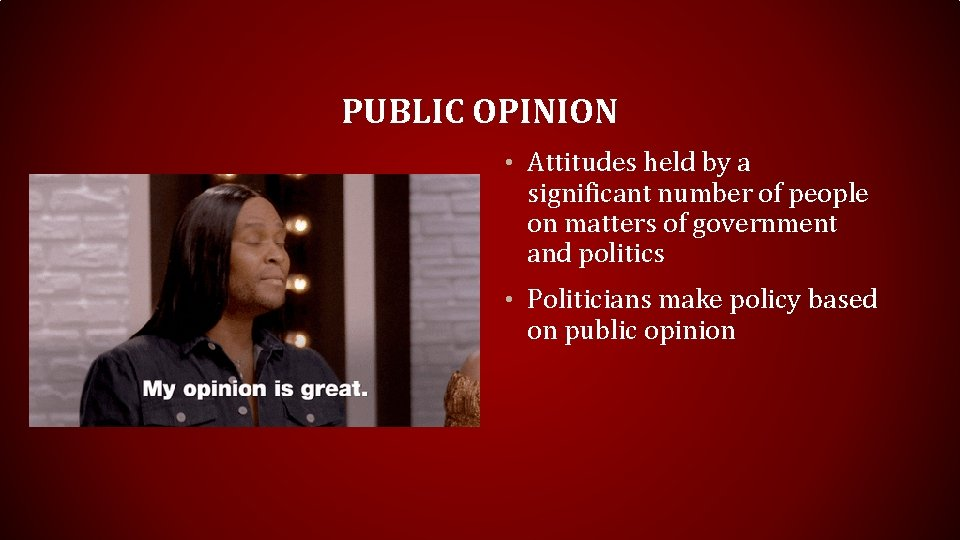 PUBLIC OPINION • Attitudes held by a significant number of people on matters of