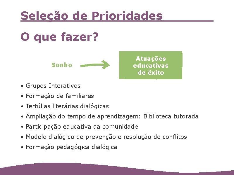 Seleção de Prioridades O que fazer? Sonho Atuações educativas de êxito • Grupos Interativos