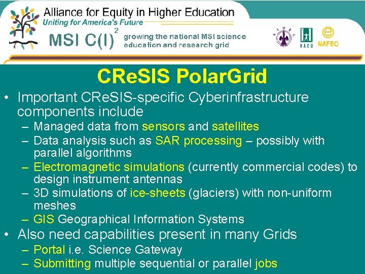 CRe. SIS Polar. Grid • Important CRe. SIS-specific Cyberinfrastructure components include – Managed data
