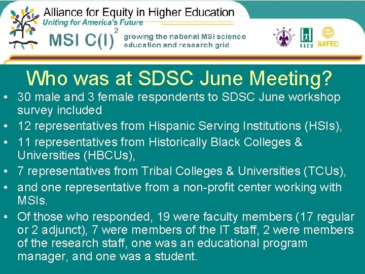 Who was at SDSC June Meeting? • 30 male and 3 female respondents to
