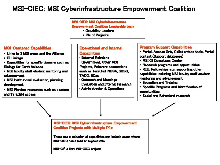 MSI-CIEC: MSI Cyberinfrastructure Empowerment Coalition Leadership team · Capability Leaders · PIs of Projects