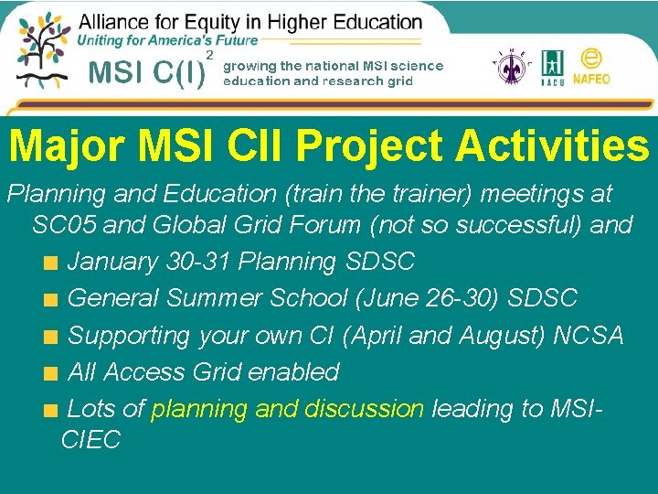 Project Venues Major MSI CII Project Activities Planning and Education (train the trainer) meetings