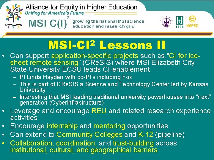"""MSI-CI 2 Lessons II • Can support application-specific projects such as """"CI for icesheet"""